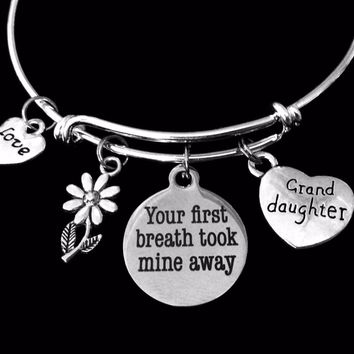 Grand Daughter Your First Breath Took Mine Away Expandable Charm Bracelet Adjustable Bangle Trendy Gift Granddaughter