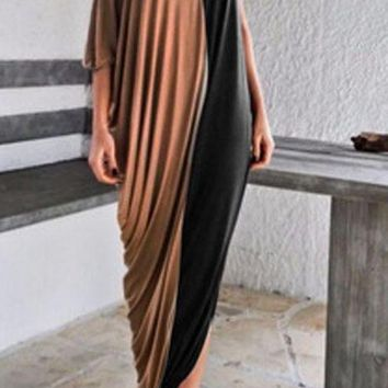Single Shoulder Loose Maxi Dress