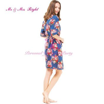 4 Colors Cotton Robes Floral Women Sleepwear Sisters Clothes Bridal Dressing Bridesmaid Robes Sexy Wedding Party Bathrobes