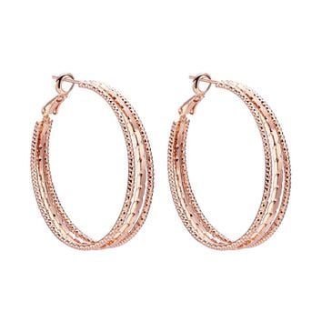 Beautiful Elegant Large Good Luck Charm Amulets Gold-Tone Hoop Style Magical Circles Earrings