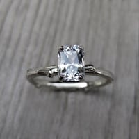 Emerald Cut White Sapphire Twig Engagement Ring, One Carat