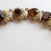 Vintage Art Glass Bracelet Filigree Panels Bookchain Raised Amber Stones Statement Bracelet