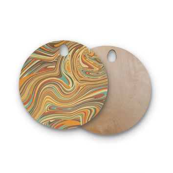 "Tobe Fonseca ""Rainbow Marble Organic Texture"" Maroon Multicolor Digital Round Wooden Cutting Board"