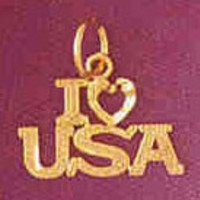 14K GOLD TRAVEL CHARM - I LOVE USA #4870
