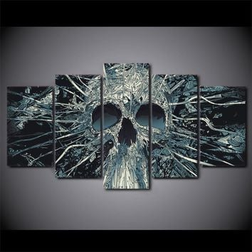 5 Pieces Canvas Paintings Printed Abstract Art Skull Wall Art