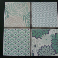 "Ceramic Coasters - ""Green and Gray"" - Set of 4"