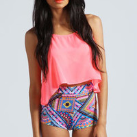 Tally Geometric Print Knicker Shorts