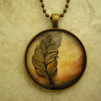 Handmade Glass Feather Pendant, Glass Feather Necklance, Antique Gold