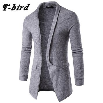 T-bird Sweater Men 2017 Brand Concise V-Neck Long Style Sweater Coat Cardigan Male Slim Mens Cardigan Big pocket Sweater Man XX