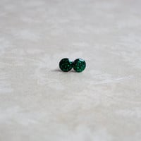 Teeny Tiny Emerald Green Glitter Earring Studs Small Post Earrings