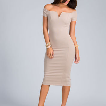 Notch Above Off-Shoulder Midi Dress