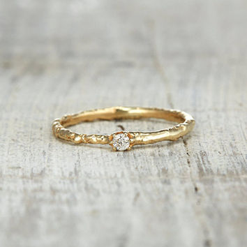 CLEARANCE Small Diamond Promise Ring For Her – Engagement Twig Wedding Ring in Yellow Gold, White Gold, Rose Gold or Platinum