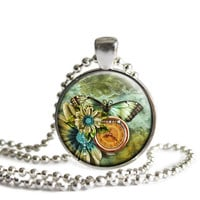 Butterfly Clock Pendant Necklace, Gift For Sister, Mom, Daughter, Best Friend Christmas Gift