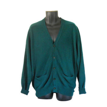 Vintage Men Green Cashmere Sweater Green Christmas Sweater Holiday Sweater Men Green Cardigan Sweater Christmas Cardigan Green Sweater
