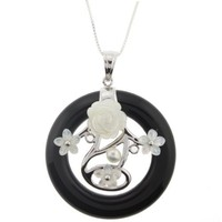 Exquisite Onyx Carved Ring Pendant with Sterling Silver Inset with Mother of Pearl Carved Rose and F