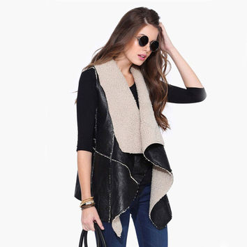 Womens Waistcoat Fake Fur Sleeveless Faux Vest Coat 2015 V-Collar Waistcoat Jacket Warm Feminino Caual Black Outwear Plus Size