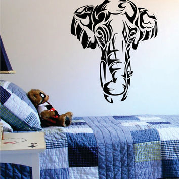 Beautiful Elephant Face Tribal Animal Design Decal Sticker Wall Vinyl Art Decor Home
