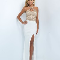 Blush Prom 11030 Off White Long Sexy Halter Beaded Gown 2016 Prom Dresses
