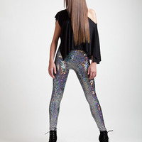 Silver Holographic Liquid Leggings