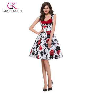 Grace Karin Retro Vintage Rockabilly 50s Floral Pattern Sleeveless V-Neck Cotton Party Women Dresses Summer 8901 Alternative Measures - Brides & Bridesmaids - Wedding, Bridal, Prom, Formal Gown
