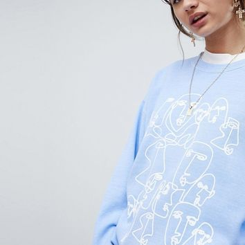 Reclaimed Vintage Inspired Overdye Sweat With Face Print at asos.com