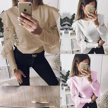 Thefound Brand Women Lace Ruffle Sleeves Blouse Women Casual Long Sleeves Shirt High Quality Lace Blouse