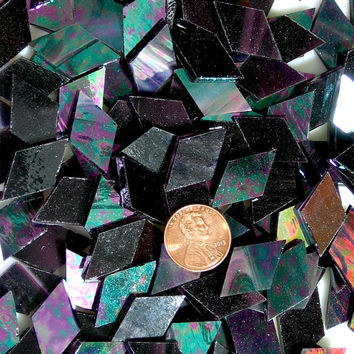 Deep Purple Iridescent Mosaic Tile Diamonds Hand Cut from Spectrum Stained Glass into 3 Different Sizes, Perfect for Mosaic Arts and Crafts