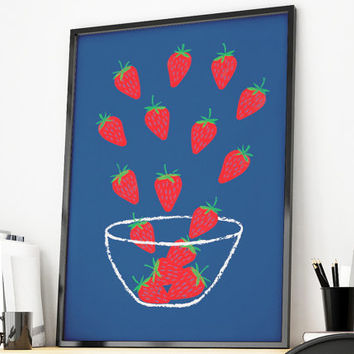 Strawberry Print, Kitchen Print, Strawberry Poster, Kitchen Art, Food Kitchen Art, Kitchen Wall Art, Berry Print, Food Print
