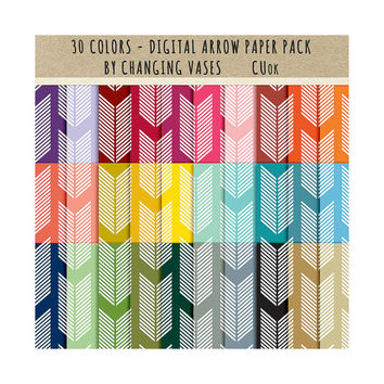 30 Digital Scrapbook Paper Pack, Arrow Pattern Paper, Basic Color Set, Instant Download Graphic Texture, Clipart Clip Art, Photo Background