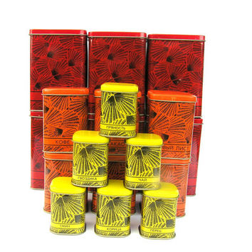 Soviet vintage tin food containers container UNUSED red orange yellow new old stock