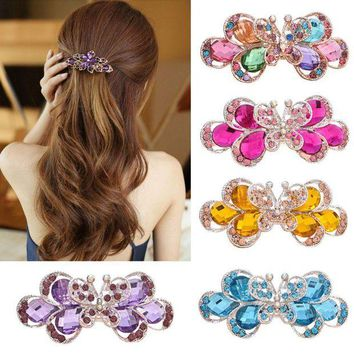 LMFONRZ Retro Vintage Women Ladies Girls Crystal Butterfly Flower Hairpins Hair Clips the cheapest products hair accessories