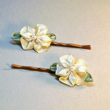 Ivory Cream Flower Hair Pins Bridal Woodland Wedding Hair Accessories