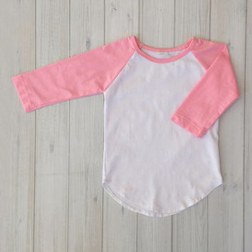 White & Pink Three-Quarter Sleeve Raglan Tee - Infant & Toddler