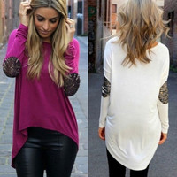 2015 Women Autumn New Casual Glitter Stitching Long Sleeved Irregular T-shirt Blouse = 1705756868