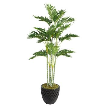 """74"""" Artificial Palm Tree in 13.6"""" Black Decorative Honeycomb Planter"""