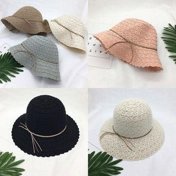 LMF78W ITFABS Hot Fashion Women Lady Brim Summer Beach Sun Hat Straw Floppy Elegant Bohemia Weave Casual Sun Cap