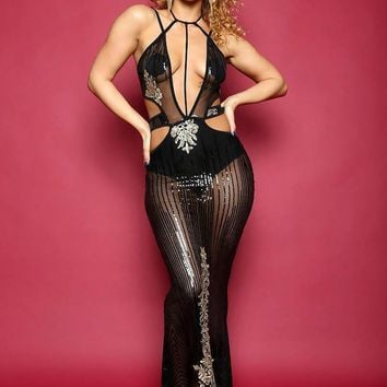 Mesh Built In Slip On Bodysuit Maxi Dress