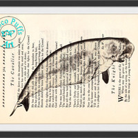 Gray Manatee Drawing Beautifully Upcycled Vintage Dictionary Page Book Art Print, Sea Life Print
