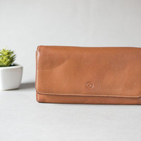 Full grain leather women's wallet purse Samsonite. Brown genuine leather purse wallet gift. Money holder wallet rectangular good condition