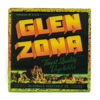 Glen Zona - Vintage Citrus Crate Label - Handmade Recycled Tile Coaster