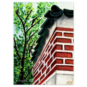 """ACEO landscape print small """"A Corner Of A Korean Palace Wall"""" wall art home deco (9)"""