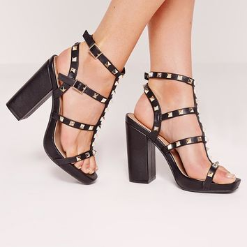 Missguided - Studded block heel sandal black