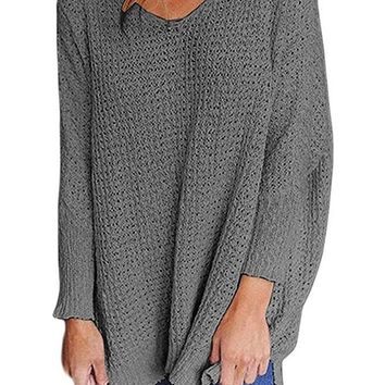 Gray Oversized Long Sleeve Knitted V-Neck Sweater