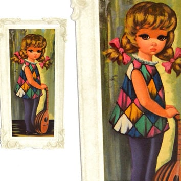 Vintage 60s Big Eye Art Moppet Kid with Mandolin Mod Kitsch Framed Lithograph Print