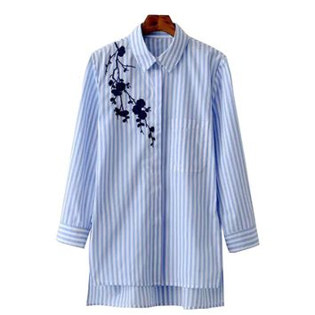 Women Blouse Shirt Embroidery Female Blouses Shirts Casual Striped Spring Summer Vintage Tops Women Clothing Blusas