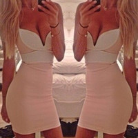 Pink Color-block Mini Dress