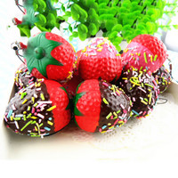 Jumbo Cute Strawberry Phone Straps Squishy Slow Rising Pink Red Straps Sweet Cream Charms Pendant Bread Kids Toy Gift