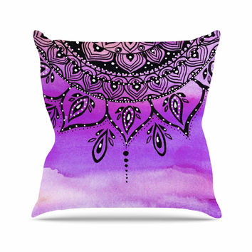 "Li Zamperini ""Lilac Mandala"" Lavender Purple Throw Pillow"