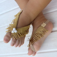 Gold Sandals, Gold Barefoot Sandals, Barefoot Baby Sandals, Fringe Baby Sandals, Baby Barefoot Sandals, Baby Stuff, Sandals For Babies