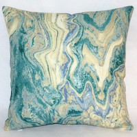 """Aqua Marble Pillow, 17"""" Square Cotton Bark Cloth in Blue Green Cream Tones with Zipper Cover or Insert Included"""